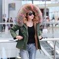 Плюс размер 2016 Новый army green зимняя куртка женщины Алмазы бисером толстые парки енот Собака природных реального меховой воротник пальто с капюшоном