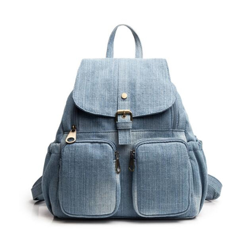 Meloke 2019 New Denim Travel Bags For Girls College Style Backpacks Large Size Mother Bags School Bags Drop Shipping MN1261
