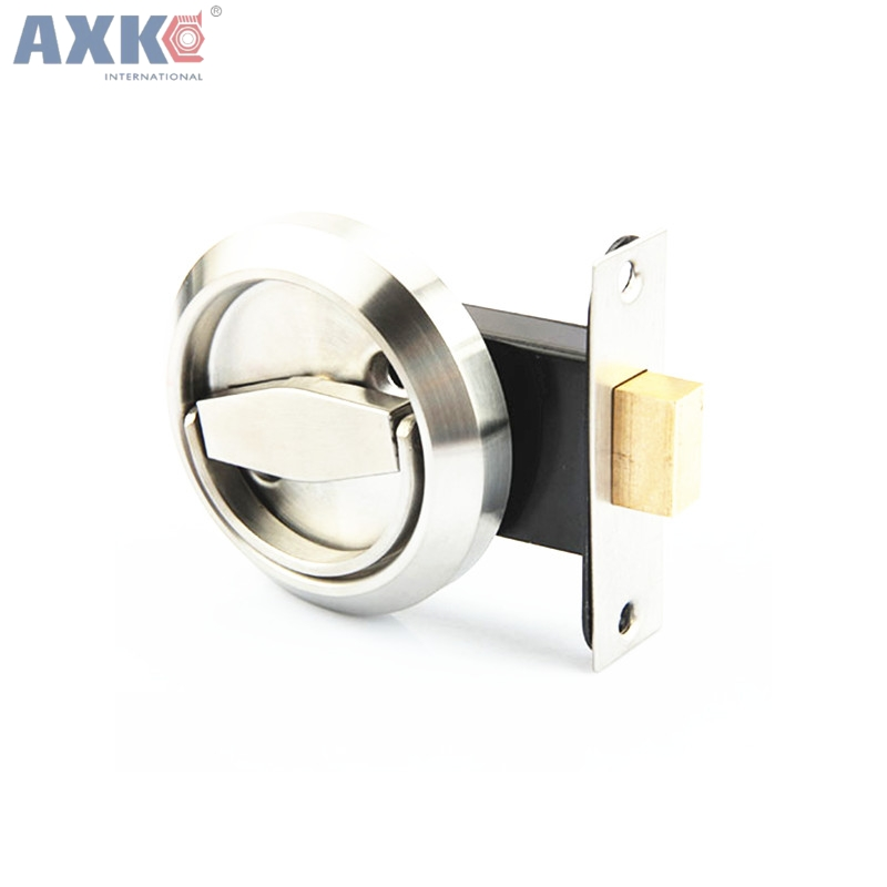 AXK Stainless Steel 304 Recessed Invisible Cup Handle/ Privacy/Hidden Door Locks Cabinet Pull Handle Fire Proof Disk Ring Lock unlocks tatami platform hidden under the bed cabinet handle stainless steel drawer handle embedded invisible dark handle