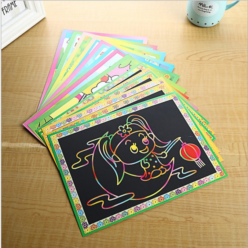 10pcs children cartoon scraping painting for drawing toys/Kids baby 2 side Scratch paper for kindergarde school educational toys