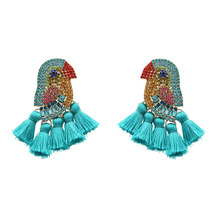 Hot Creative Ethnic Wind Bohemian Tassel Earrings New Color Zircon Rhinestone Animal Shaped Bird For Girl Wholesale