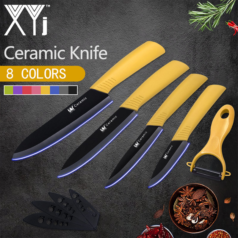 XYj Kitchen Knives Chef Ceramic Knife Select 3 4 5 6 Ceramic Paring Fruit Veg Meat Sushi Fish Sashim Cooking Knife + Peeler