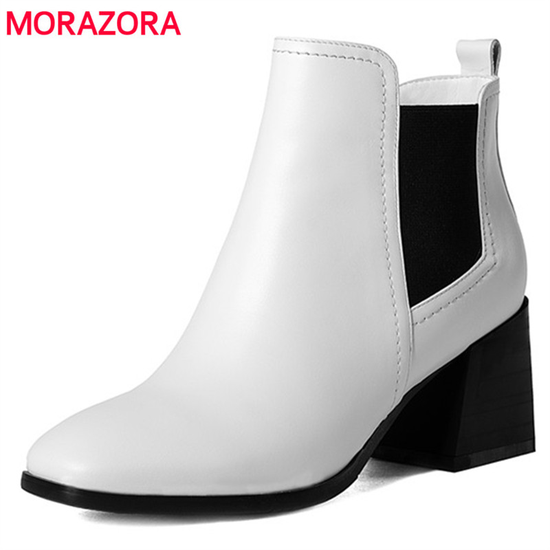MORAZORA Two colors ankle boots fashion punk spring autumn fashion boots female solid square toe high heels shoes big size 34-43 morazora knee high boots woman fashion punk women shoes spring autumn boots pu solid zip med heels shoes big size 34 42