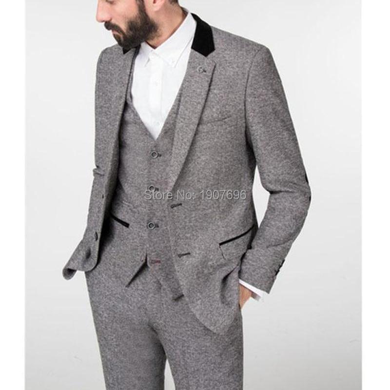 Серый зимний твид мужской костюм 2018 шлейфом из свадебный смокинг жениха 3 предмета костюм пиджак брюки жилет вечернее Стиль блейзер