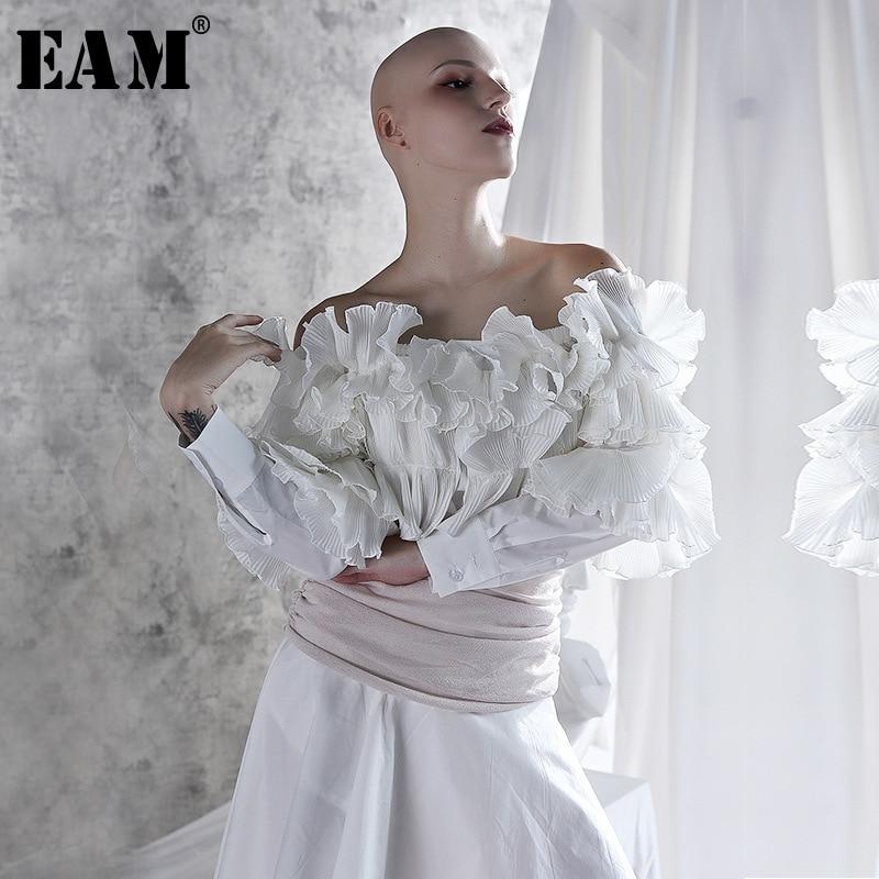 [EAM] 2020 New Spring Autumn Slash Neck Long Sleeve White Ruffles Split Joint Loose Temperament Shirt Women Blouse Fashion JX635