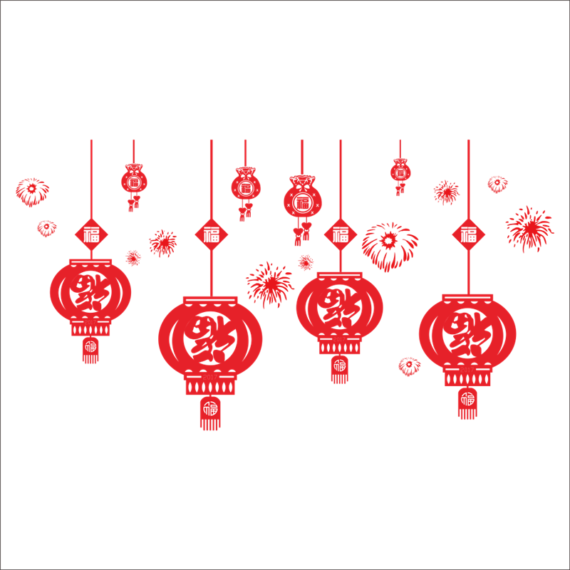removable fireworks lucky red lantern wall sticker room house glass christmas decoration chinese new year wall sticker in wall stickers from home garden