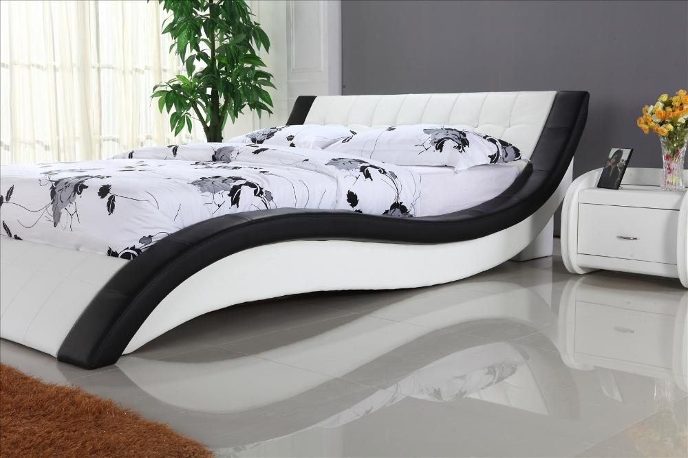 White Leather Bed with Genuine Leather, King size Soft Bed, Modern ...