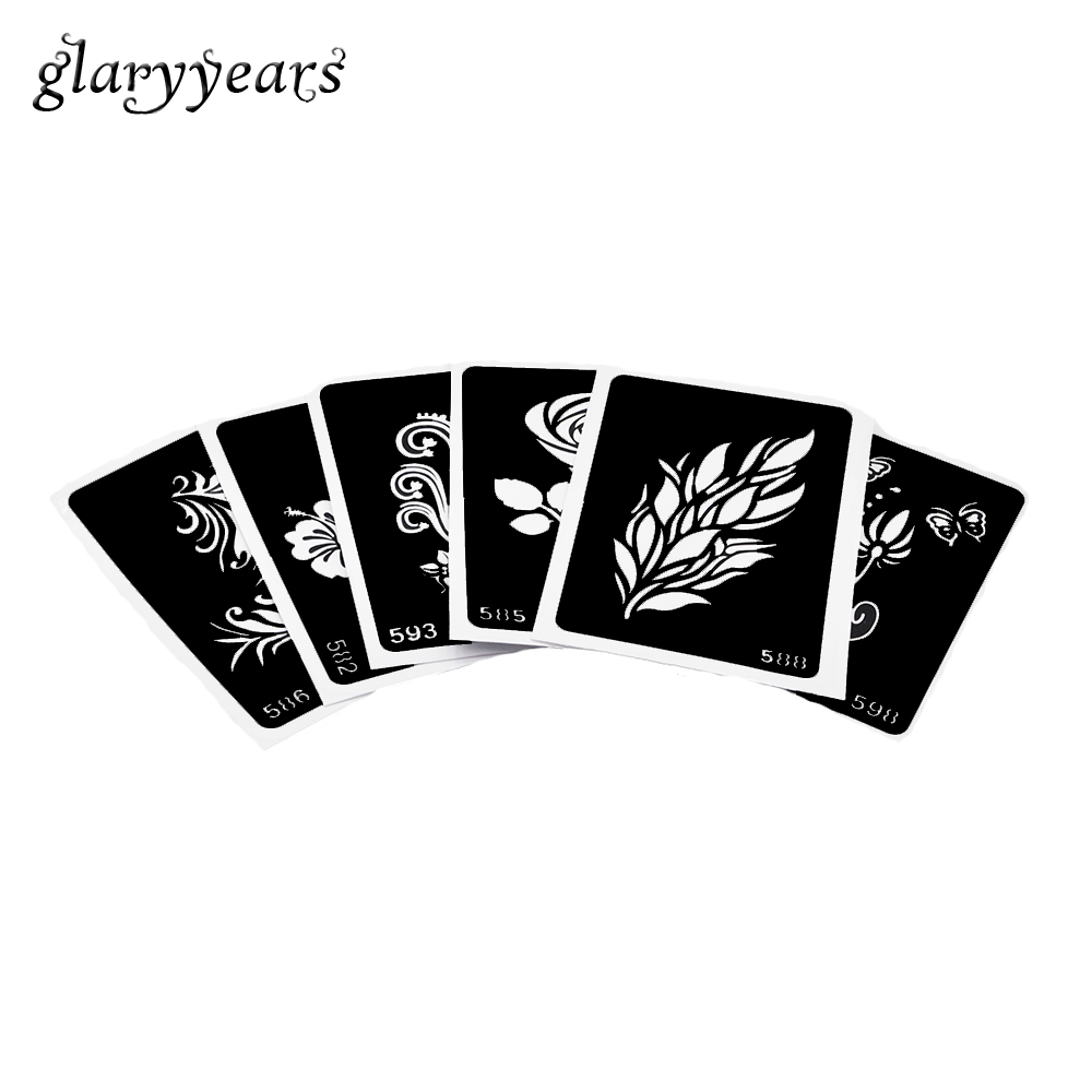 6 Pieces Small Henna Tattoo Stencil Flower Grass Style Body Art