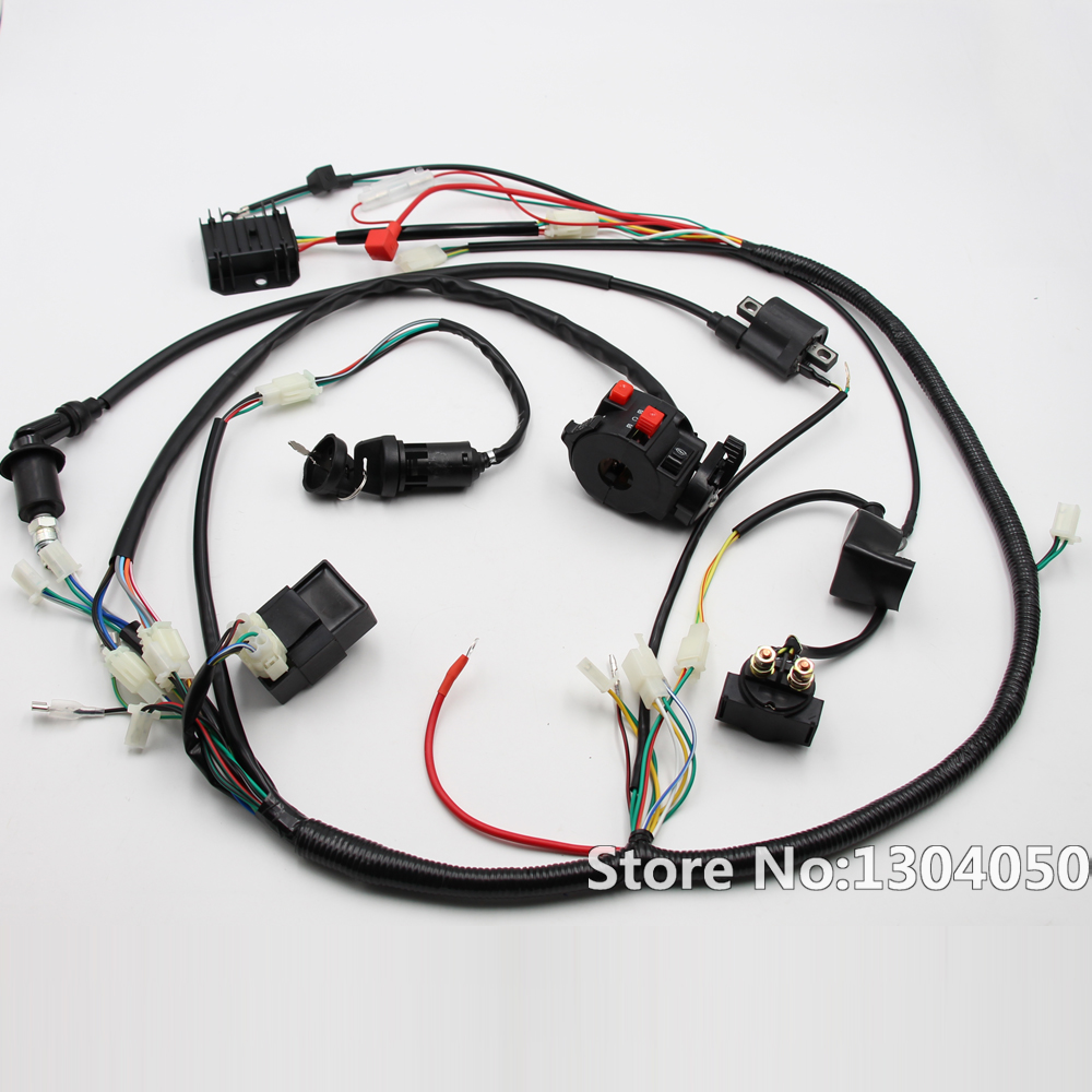 full electric start engine wiring harness loom gy6 125 150cc quad rh  aliexpress com gy6 150cc go kart wiring harness diagram