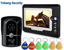 Yobang Security freeship 7″ Monitor video doorbell phone IR camera Fashion Home Building 5pcs RFID keyfobs Home Security Camera