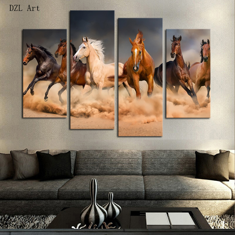 Drop Shipping 4 Piece framed  Horse Modern Home Wall Decor Canvas Picture Art HD Print Painting On Canvas for Living Room
