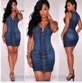 WomensDate 2016 Fashion Women Sheath Sleeveless Sexy Club Hip Denim Dress Women Jean Dress Free Shipping
