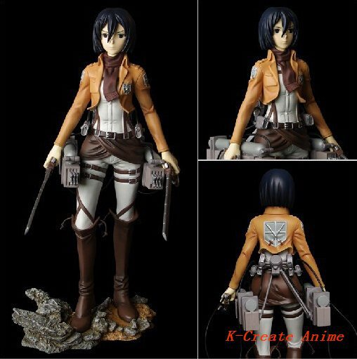 ФОТО  est s Attack on titan Mikasa Ackerman pvc figure toy 26cms action packed box