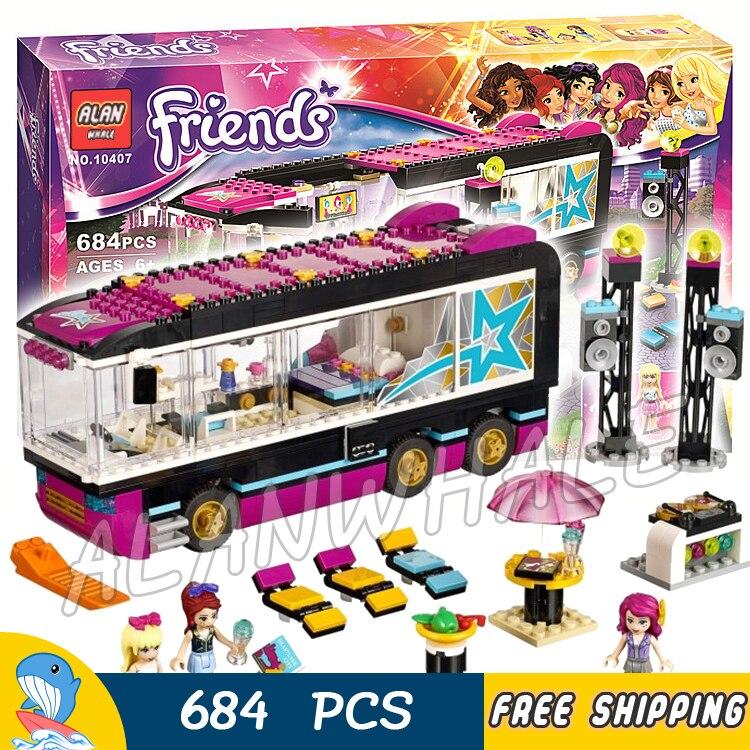 684pcs Friends Pop Star Tour Bus Party Stephanie 10407 Model Building Blocks Children Sets Kids Toys Bricks Compatible With lego 90s pop tour monterrey