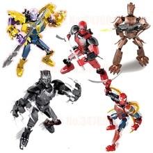 Super Heroes Marvel Avengers 4 : Endgame Iron Man Thanos Thor Black Panther Spiderman Deadpool Building Blocks toy