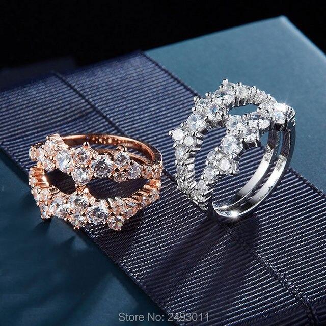 37aead0b3ecf0 Europa neue frauen 925 sterling-silber-schmuck AAA erstellt diamanten  geometrische ringe rose