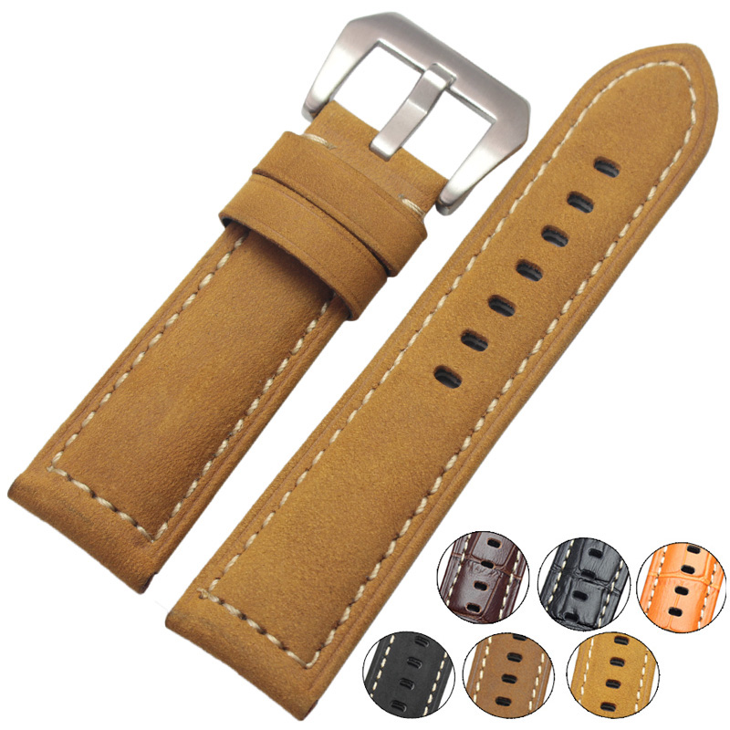 Watchbands 22mm 24mm Handmade Retro Genuine Leather Men Watch Band Women Belt Watch Strap Steel Stainless Buckle Clasp 1pc silver stainless steel men wrist watch bracelet strap 16 22mm watchbands with push button buckle clasp men watch accessorie