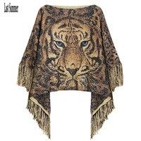 Free Shipping New Fashion 2016 Autumn Winter Women Tiger Wool Pullovers Sweaters Bat Sleeve Shawl Poncho