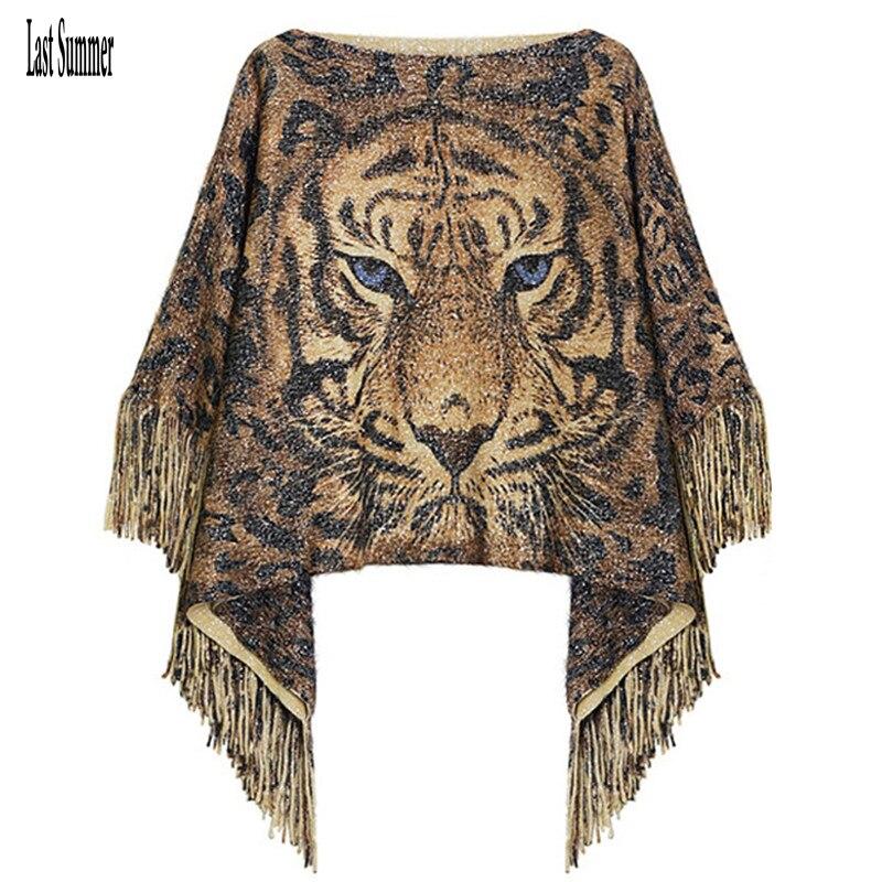 Gratis verzending Nieuwe Mode 2019 Herfst Winter Dames Tijger Wol Pullovers Truien Vleermuis Mouw Sjaal Poncho Cape Jas Sweaters