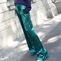 Women Fashion Velvet Pants Trousers Long Loose Baggy Velour High Waist Full Length Wide Leg Hip Pop New Metallic New Ladies