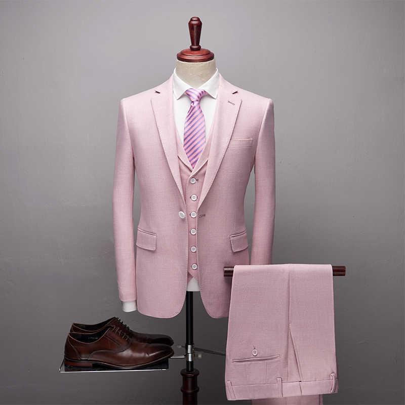TianQiong 良質ソフトウールの男性スリムフィットウールブレザーラグジュアリー新郎スーツファッション Gentalmen スタイル (ジャケット + ベスト + パンツ)