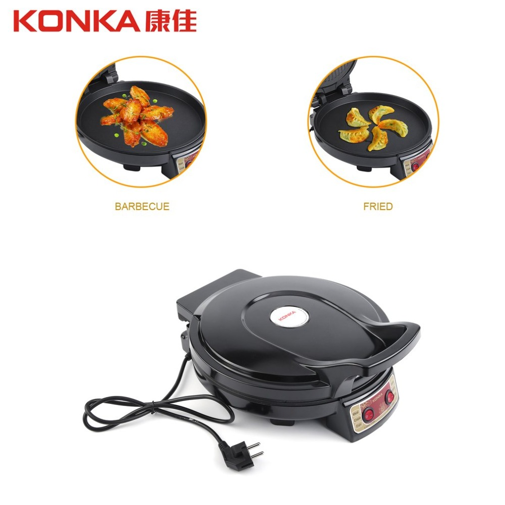 KONKA Electric Griddle & Backer Dual-side Heating Baking Pan Frying Machine For Household BBQ Fried EU Plug 220V Fryer jiqi electric baking pan double side heating household cake machine flapjack pizza barbecue frying grilling plate large1200w