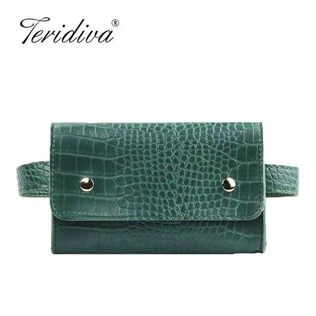 Women Waist Belt Bag Crocodile Pattern PU Leather Envelope Chest Bag Small Women Shoulder Bag Alligator Purse Fanny Bags Handbag