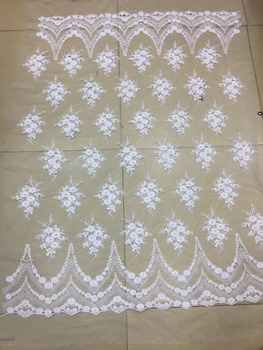 african fabric  5yards  xx22#  White Classic Pearl   tulle mesh lace fabric for bridal wedding dress/sawing Free shipping
