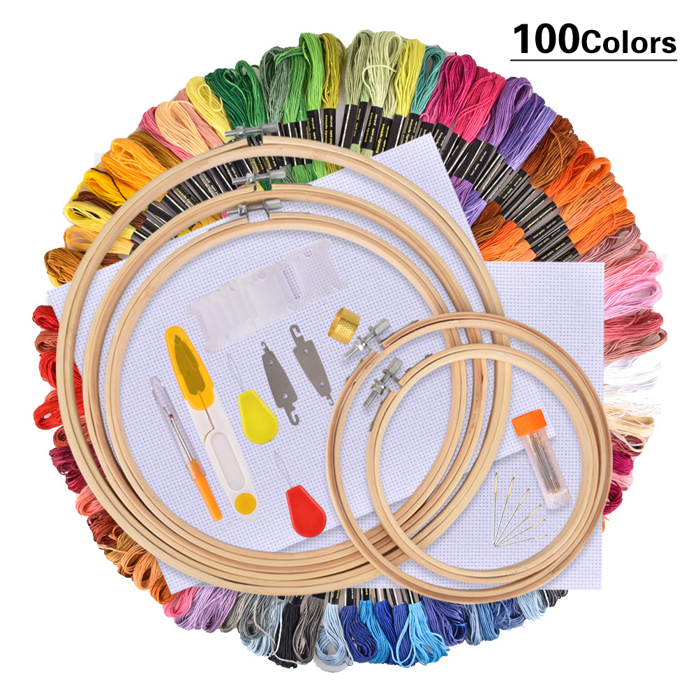 50 100 Colors Skeins Embroidery Pen Needle Set Thread Punch Stitching Knitting Kit Women Mom DIY