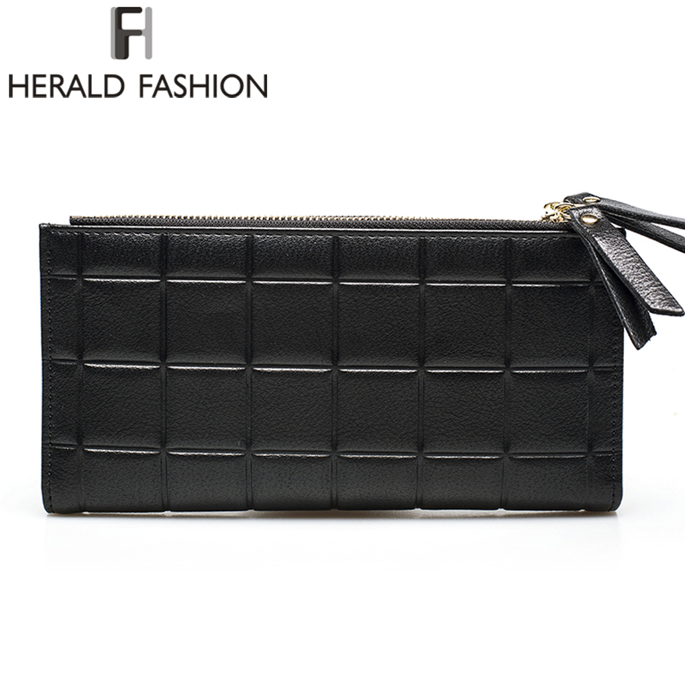 Herald Fashion PU Leather Women Wallet Plaid Long Design Ladies Purses Embossed Wallet Female Clutch Double Zipper Purses