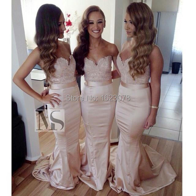 2015 Blush Pink Bridesmaid Dresses Sweetheart Strapless Floor Length ...