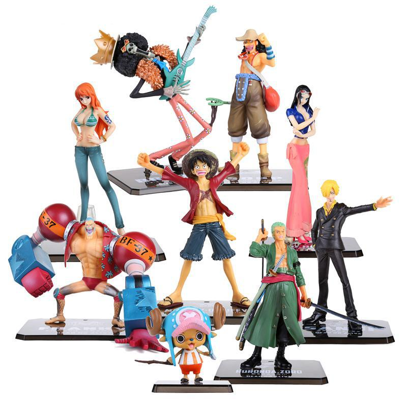 цена на One Piece Anime Zero Two Years Later One Piece Nami Luffy ZORO SANJI USOPP FRANKY PVC Action Figure Toy Doll
