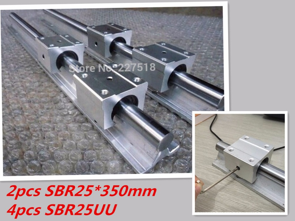 linear rail SBR25 350mm 2pcs and 4pcs SBR25UU linear bearing blocks for cnc parts 25mm linear guide chainsaw piston assy with rings needle bearing fit partner 350 craftsman poulan sm4018 220 260 pp220 husqvarna replacement parts