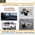 """Reverso do carro Câmera Traseira de Backup + 4.3 """"TFT LCD Monitor de Tela = 2 em 1 Estacionamento Retrovisor Sistema-Para A Toyota Fortuner SW4"""