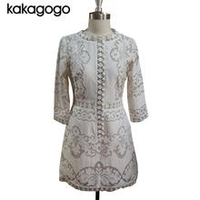 Super Quality Runway Vintage Casual Sleeve Hollow Slim Elegant Lace Summer Short Dress Plus Size Xxl XL K140