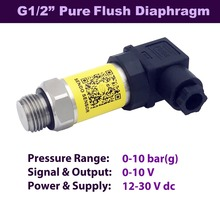 flush diaphragm pressure transmitter sensor, 0 10 bar 150 psi, V output, 12 DC, 24 thread G 1 2 inch, AISI 316L