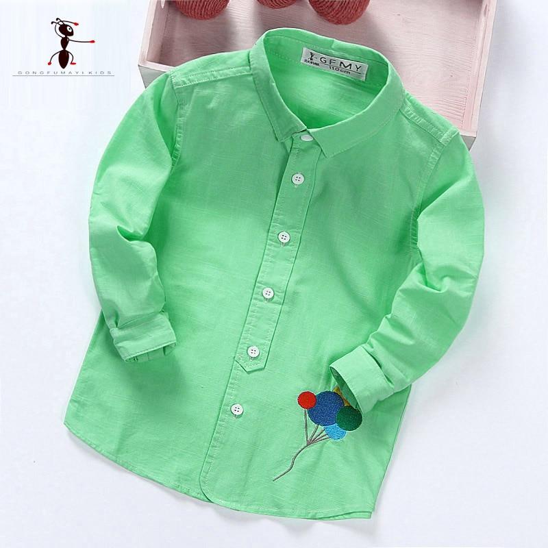 Kung Fu Ant 2018 New Spring&Autumn Boys Shirt for Kids Cotton Fashion New Boys Plaid Shirts Long Sleeve School Shirt 1863 stylish shirt collar long sleeve plaid side slit shirt for women