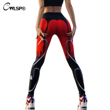 Фотография CWLSP Sportswear Fitness Leggings Women Push up Hips Color Patchwork Print Red Pants Workout christmas leggins jeggings QA2011