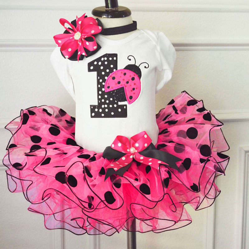 1 Year Baby Girl Princess Cake Outfit Summer Baby Birthday Party Clothes  Kids Infant Clothing Dress Red Ladybug Little Girl Wear - Fortuna Brands c5cc8dc81696