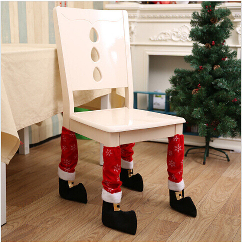 Strict 1pc Santa Claus Leg Chair Foot Covers Lovelytable Decor Christmas Decorations For Home Natal Navidad New Year Ej979682 Christmas