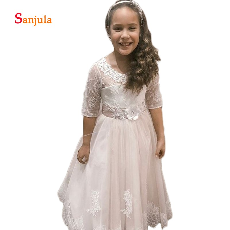 Half Lace Sleeve   Flower     Girls     Dresses   A-Line Tulle   Flowers     Girls   Birthday Party   Dresses   Open Back abiti per comunione D348