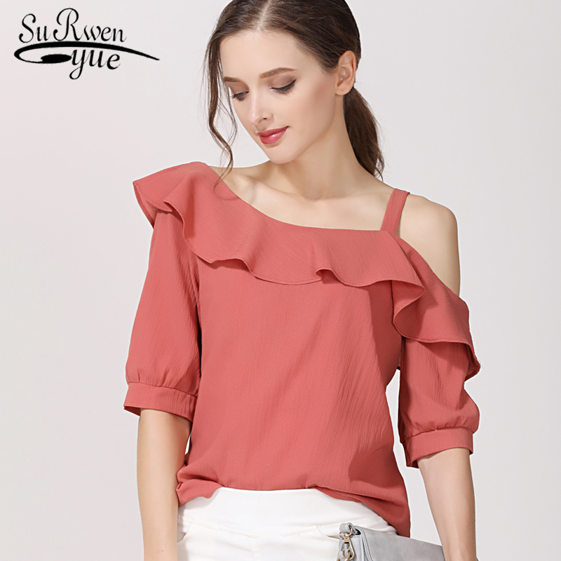 fashion women   blouses   2019 sexy slash neck chiffon women   blouse     shirt   short sleeve summer ladies tops blusas femininas 123J 30