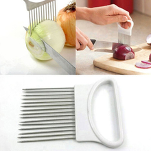 Hot Stainless Steel Onion Holder Slicer Vegetable Cutter Kitchen Gadget Tool