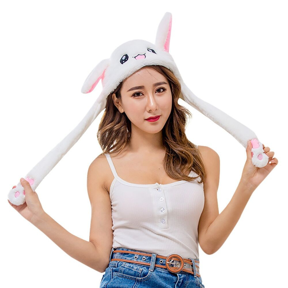 2019 Hot Sell Fashion Moving Hat Rabbit Ears Plush Sweet Cute Airbag Cap 2 Color Can Be Choose Fashionable And Attractive Packages Girl's Hats