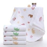 Imprimé serviette de visage coton modèles animaux main serviette salle de bains un côté éponge super bonne eau douce-absorbant serviette