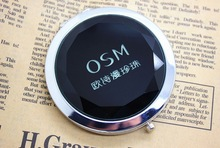 цены FREE SHIPPING+Customized LOGO Black Crystal Cosmetic Mirrors Bling Compact Mirror+100pcs/lot