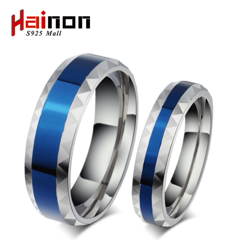 316L Anéis de Aço Inoxidável banda de casamento dos homens jóia azul 4mm de titânio anéis de aço para o amante da Mulher Azul anel de aço inoxidável