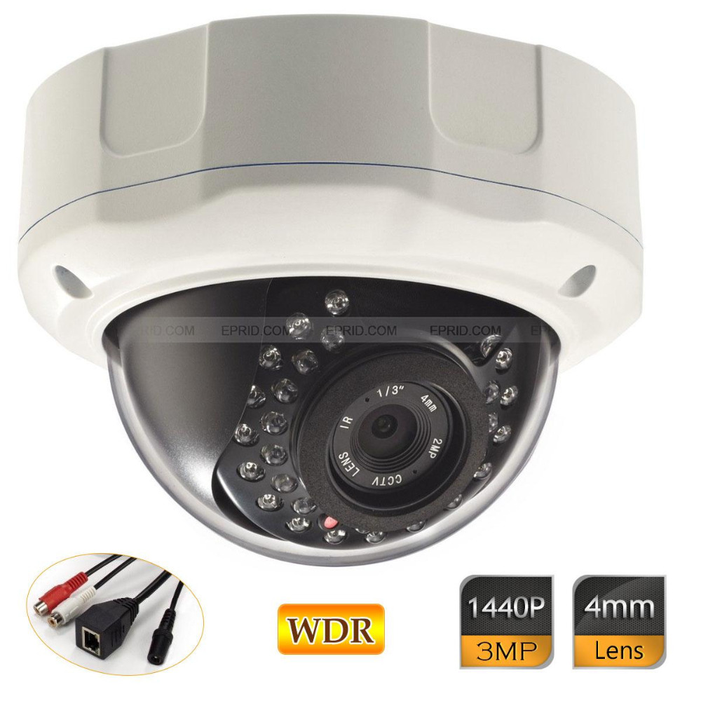 3.0MP HD 1440P WDR 4mm IP Vandal-proof Dome Camera Network Onvif Security 3 0mp hd 1440p wdr ip camera 4mm network onvif security outdoor ir 12v1a