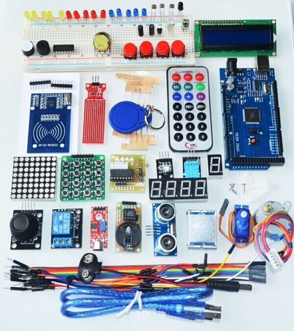 Free-shipping-mega-2560-r3-starter-kit-motor-servo-RFID-Ultrasonic-Ranging-relay-LCD-for-arduino