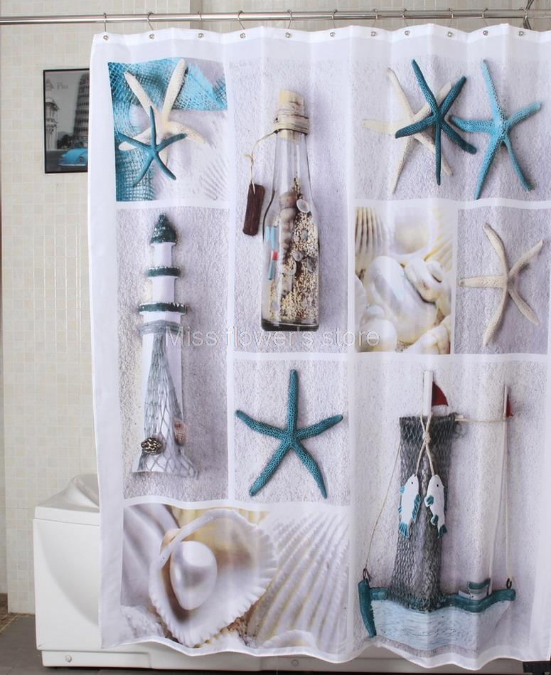 sea shell starfish drift bottle fishing boat pattern shower curtain bathroom waterproof mildewproof polyester fabric 180cm